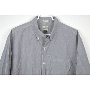 J Crew Striped Shirt Large 2 Ply Cotton Button Up